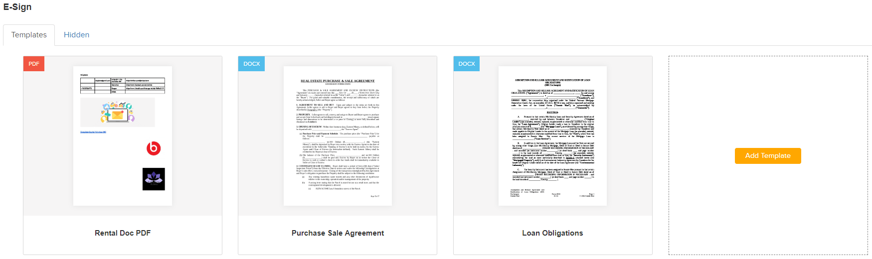 Add mortgage docs for e-sign
