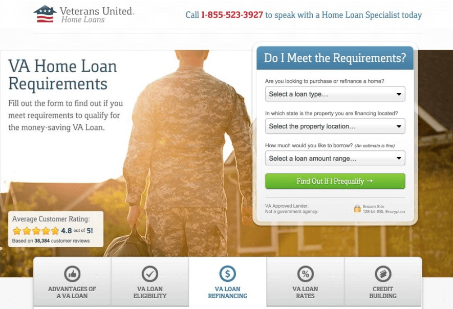 VA Home Loan Landing Page