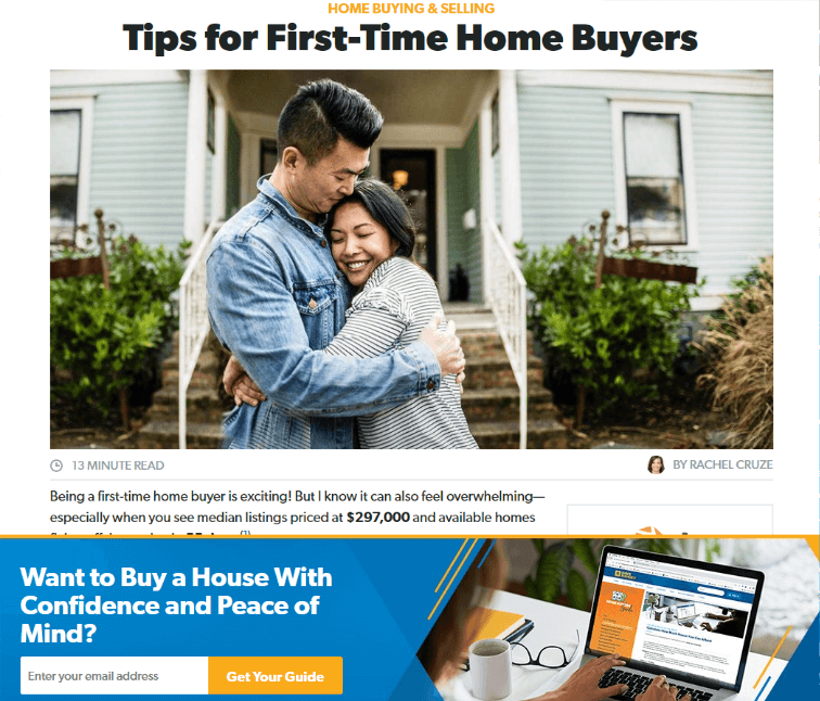 first time home buyer landing page