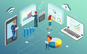 Businessman use data analytics on cloud computing analysing business growth and profit from graph charts. Idea for smart network connection technology develop business success. Isometric view.