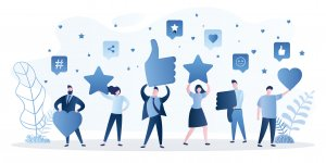 People are holding signs in hands. Feedback consumer or customer review evaluation, satisfaction level and critical icon. Business satisfaction support. Various humans rate and gaving stars,hearts. Vector illustration.