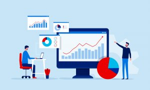 business people team analytics and monitoring on web report dashboard monitor concept and vector illustration business working concept
